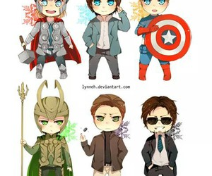 captain america, loki, and iron man image