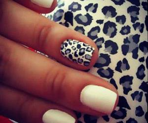 nails, white, and leopard image