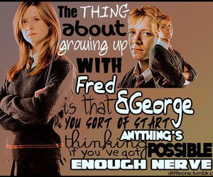 fred and george, ginny weasley, and harry potter image