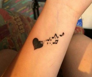 music, tattoo, and heart image