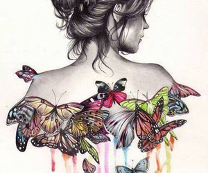 butterfly, girl, and art image