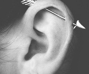 adorable, black and white, and ear piercing image