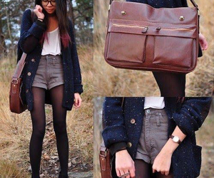 bag, cardigan, and fall image