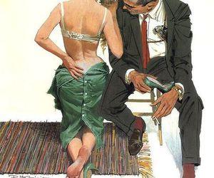 illustration, couple, and vintage image