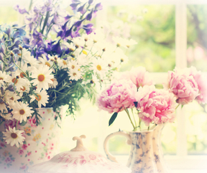 floral, flower crown, and flowers image