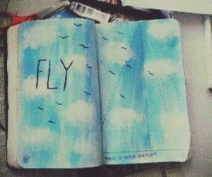 fly, birds, and blue image