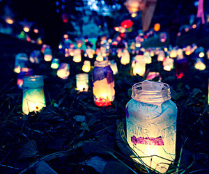 light, night, and jar image