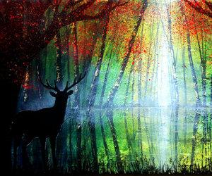 deer, drawings, and landscape image