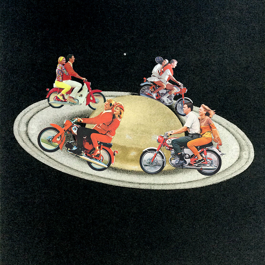 motorcycle, saturn, and Collage image