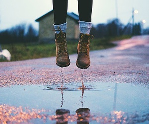 water, boots, and autumn image