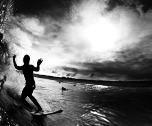 black and white, guy, and wave image