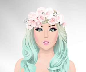 doll, fashion, and flower image