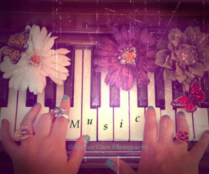 butterfly, music, and piano image