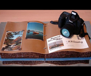 book, cake, and camera image