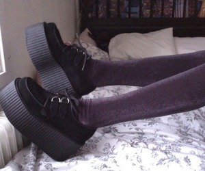 creepers, black, and shoes image