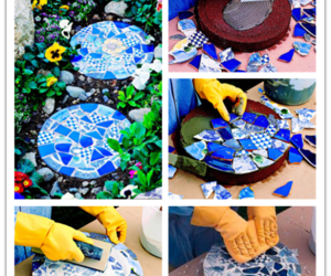 blue, mosaic, and garden image