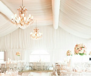 chandeliers, wedding decorating ideas, and wedding venue decoration image