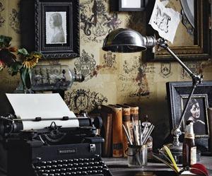 vintage, typewriter, and book image