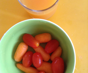 breakfast, juice, and baby carrots image