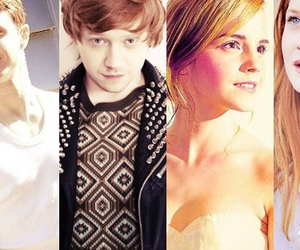 bonnie wright, daniel radcliffe, and emma watson image