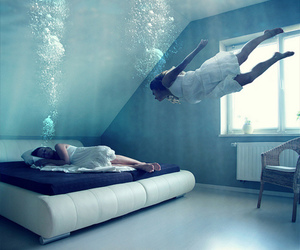 water, underwater, and sleep image