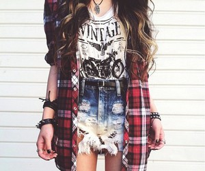curly, plaid, and red image