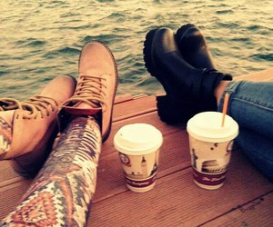 black, boots, and coffee image