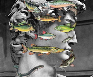 Collage, vintage, and fish image