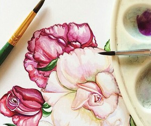 flowers, drawing, and roses image
