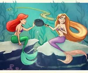 ariel, rapunzel, and disney image