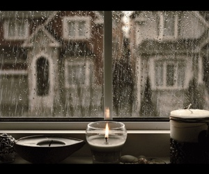 rain, candle, and cozy image