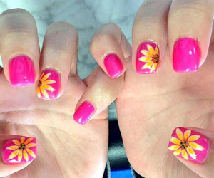 flowers, pink, and nails art image