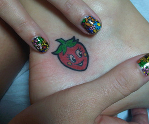 tattoo, katy perry, and strawberry image
