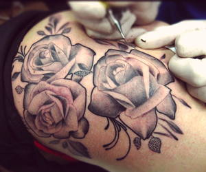 flowers, ink, and roses image