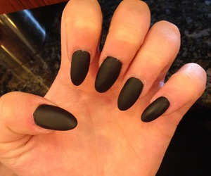 nails, matte black, and oval nails image