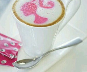 barbie, coffee, and pink image