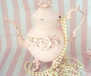 teapot, pink, and pearls image