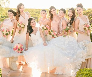 beautiful, bride, and bridesmaids image