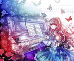 piano, anime, and girl image