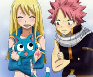 happy, Lucy, and natsu image