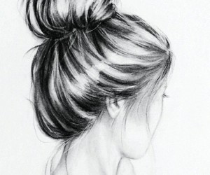 drawing, girl, and hair image