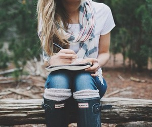 blond, forest, and outfit image