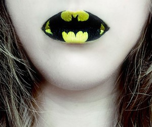 batman, lips, and Halloween image