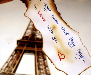 eiffel tower, text, and love image