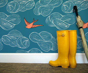 bird, umbrella, and boots image
