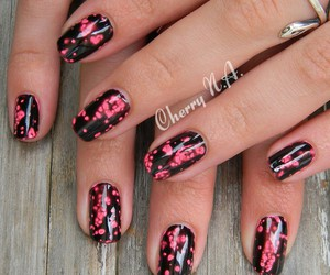 cherry, nail art, and noir image