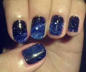 nails, galaxy, and blue image