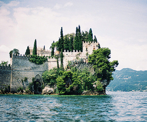 castle, sea, and nature image