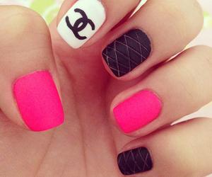 black, nails, and pink image