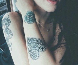 tattoo, girl, and heart image